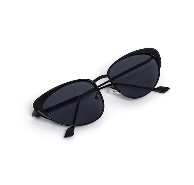 Occhiali da sole gatta in metallo nero Nalì