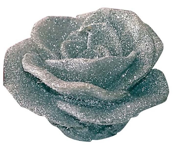 Candela fiore rosa argento