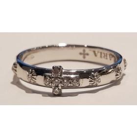 Anello rosario con zirconi bianchi e crocetta bianca