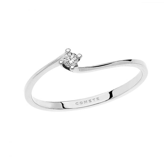Anello solitario comete gioielli in oro bianco Anello da donna in oro bianco 750, con diamante puro misura 0,06 carati, colore G.