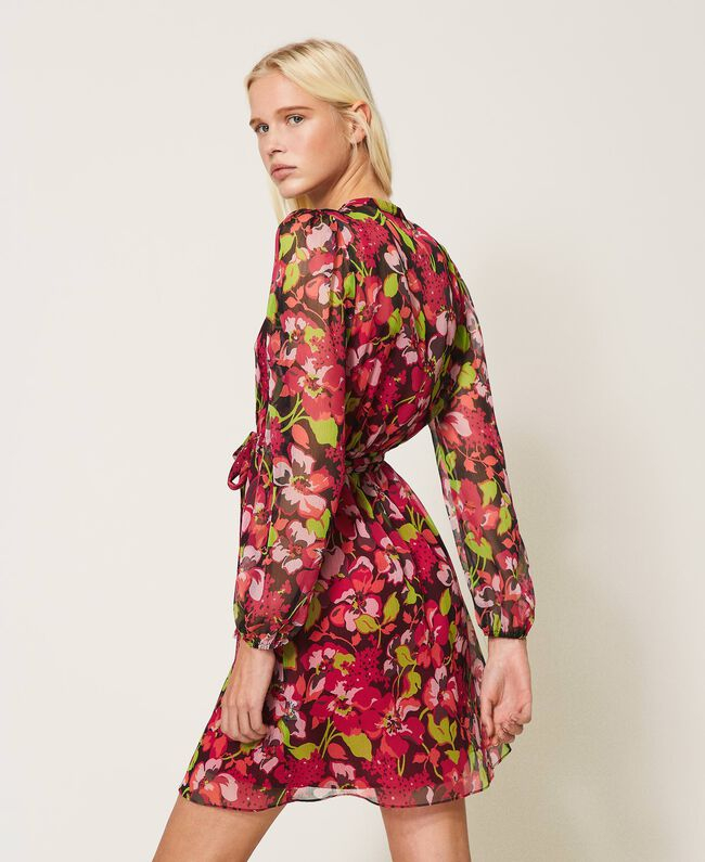 SHOPPING ON LINE TWINSET MILANO ABITO IN CREPONNE A FIORI  NEW COLLECTION WOMEN'S SPRING SUMMER 2021