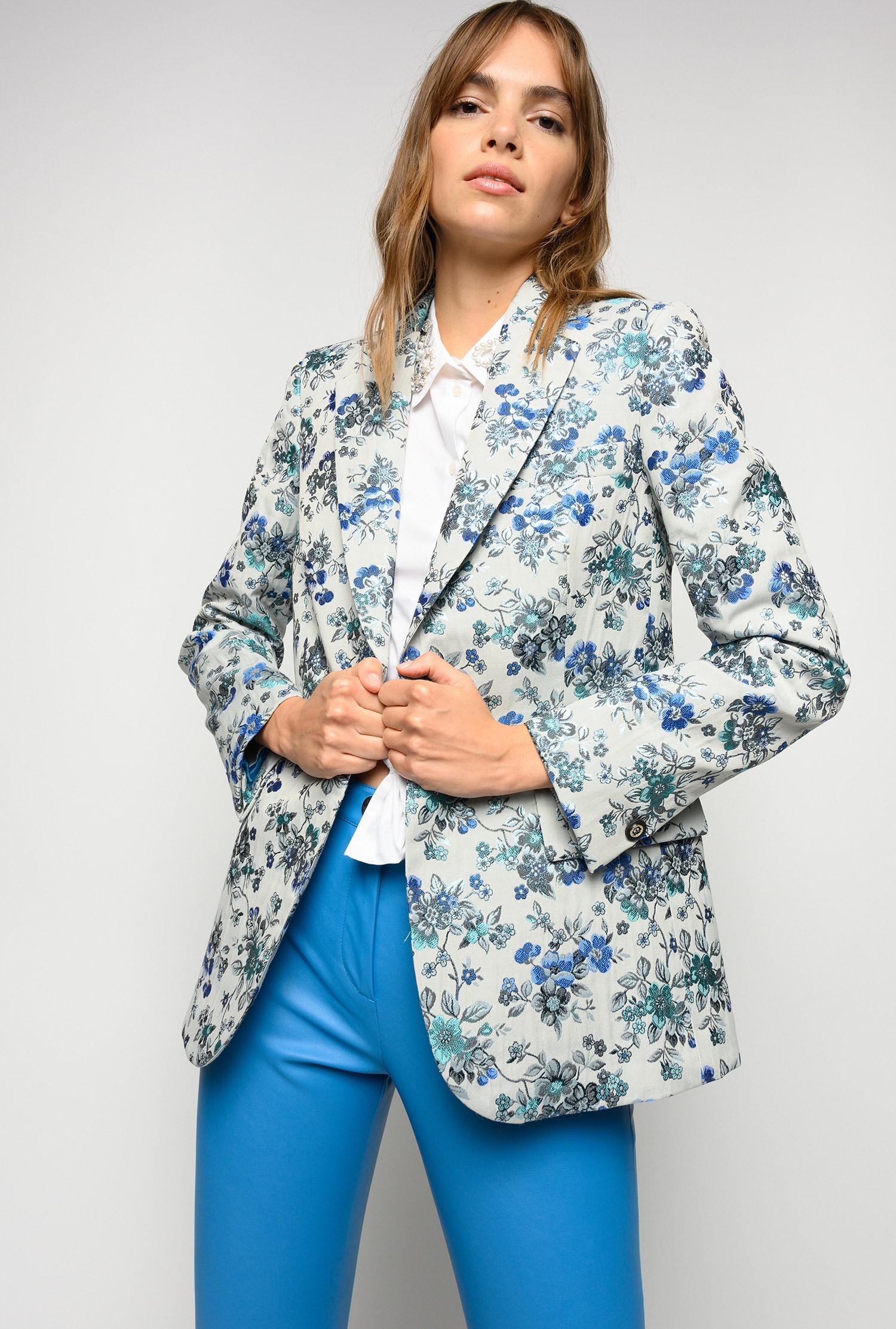 SHOPPING ON LINE PINKO BLAZER IN BROCCATO FLOREALE ESTROSO NEW COLLECTION WOMEN'S SPRING SUMMER 2021