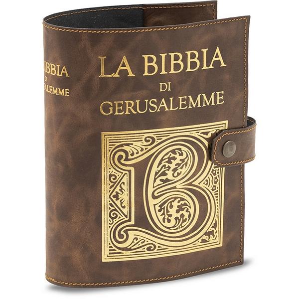 Copri Bibbia di Gerusalemme stampa oro a caldo cuoio rigenerato