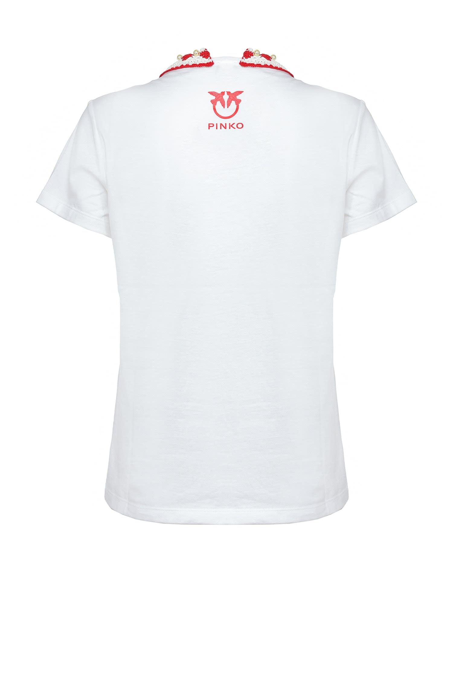 T-shirt Tenace con colletto crochet Pinko
