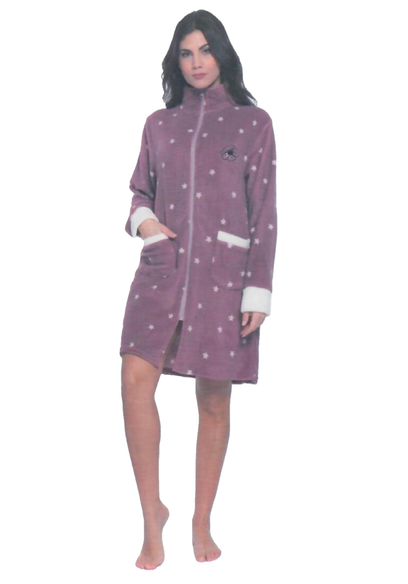 Vestaglia Donna in pile coral fleece con zip e colletto KAREL