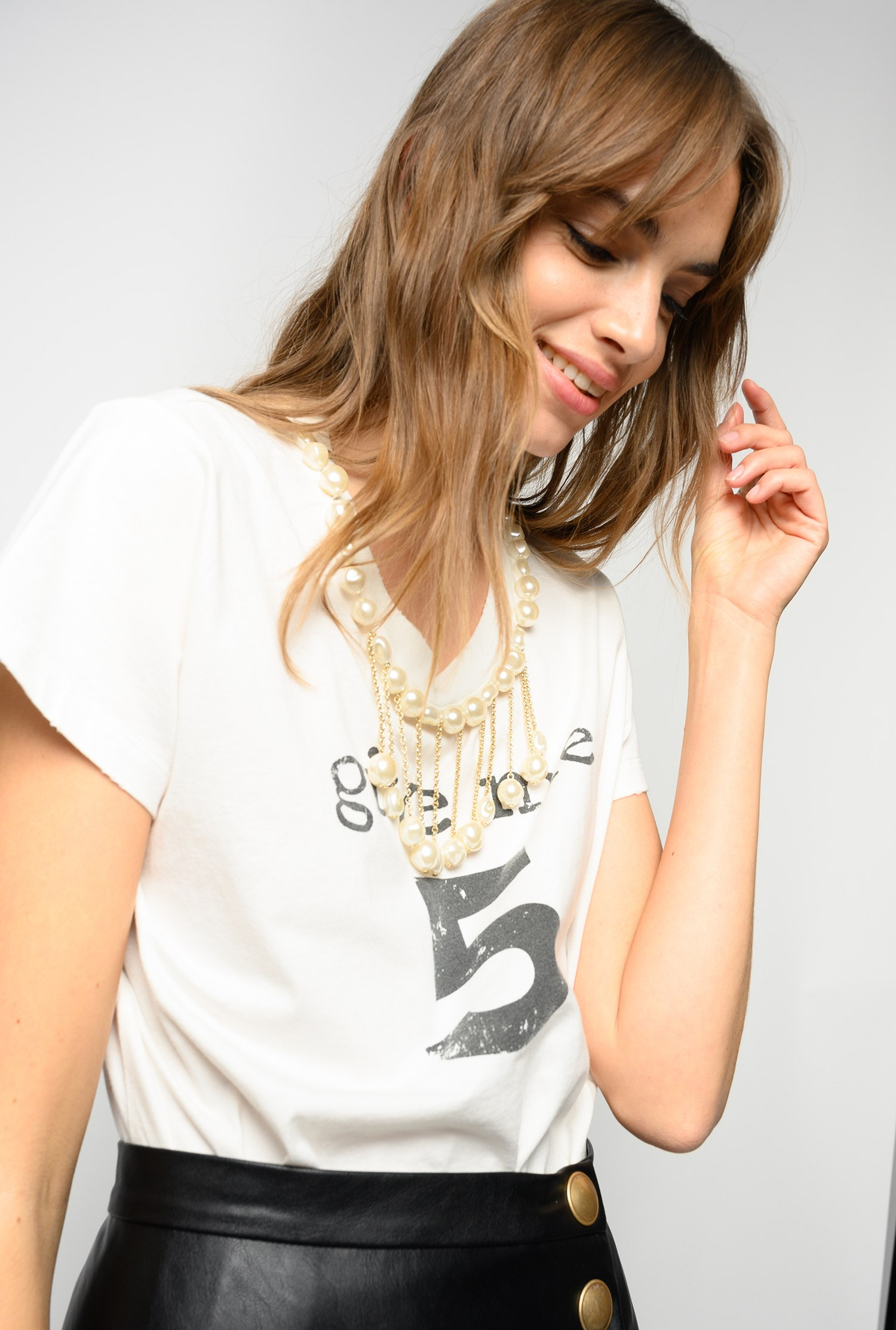 SHOPPING ON LINE PINKO T-SHIRT GIVE ME 5 CON PERLE ESTROVERSO NEW COLLECTION WOMEN'S SPRING SUMMER 2021