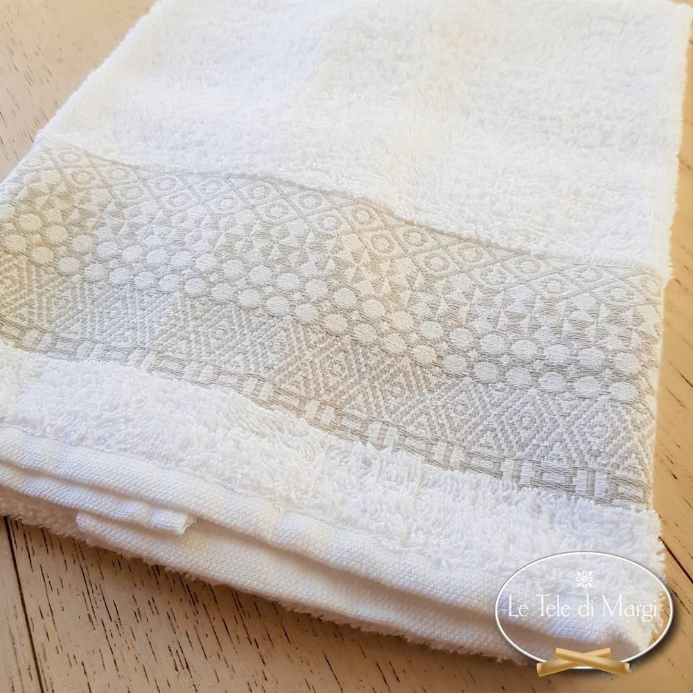 Coppia asciugamani piedipull geometrico bianco