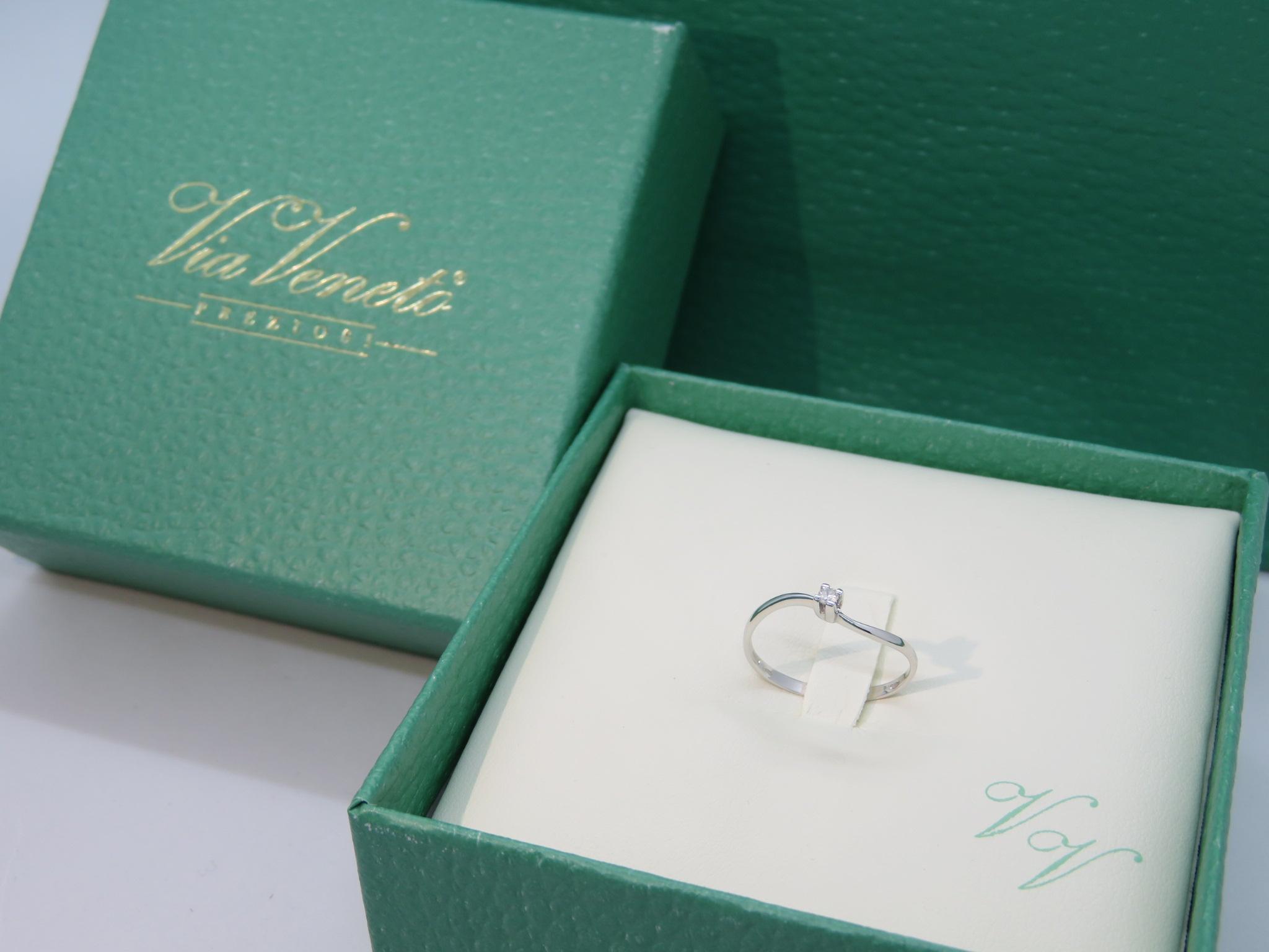 Anello Solitario ViaVeneto Contrarier Oro bianco 18 kt con Diamante -2