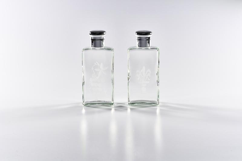 Coppia bottiglie cristallo