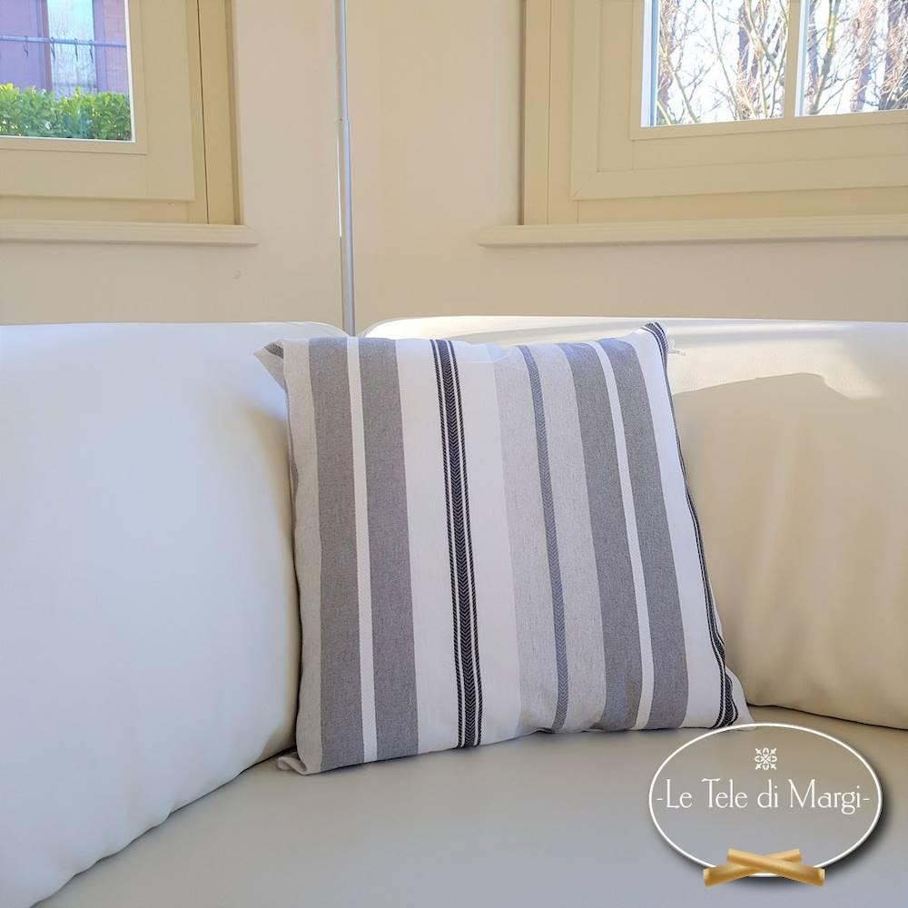 Fodera cuscino 40 x 40 riga sfumata grigio