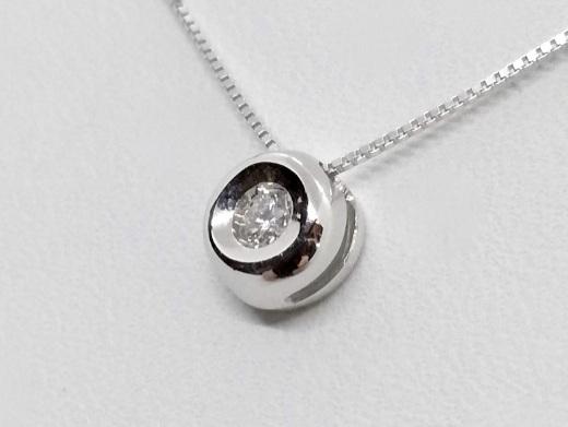 Puntoluce Collana Girocollo Oro bianco 18 kt con diamante taglio Brillante ct. 0,02