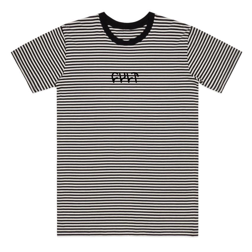 Cult Black Stripe Logo Tee T-Shirt