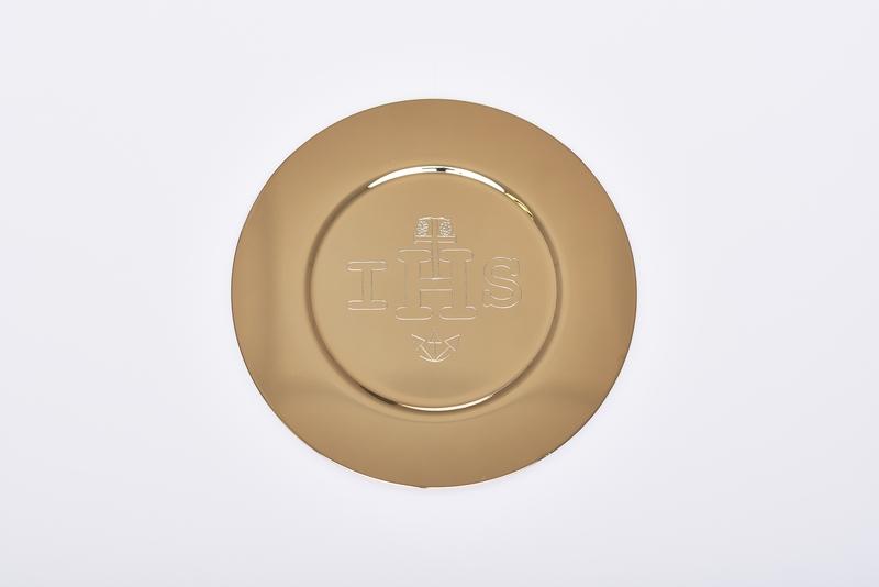 Patena IHS dorata diametro cm. 15,5