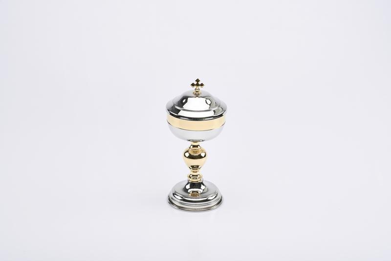 Pisside nikel lucido coppa dorata cm. 19