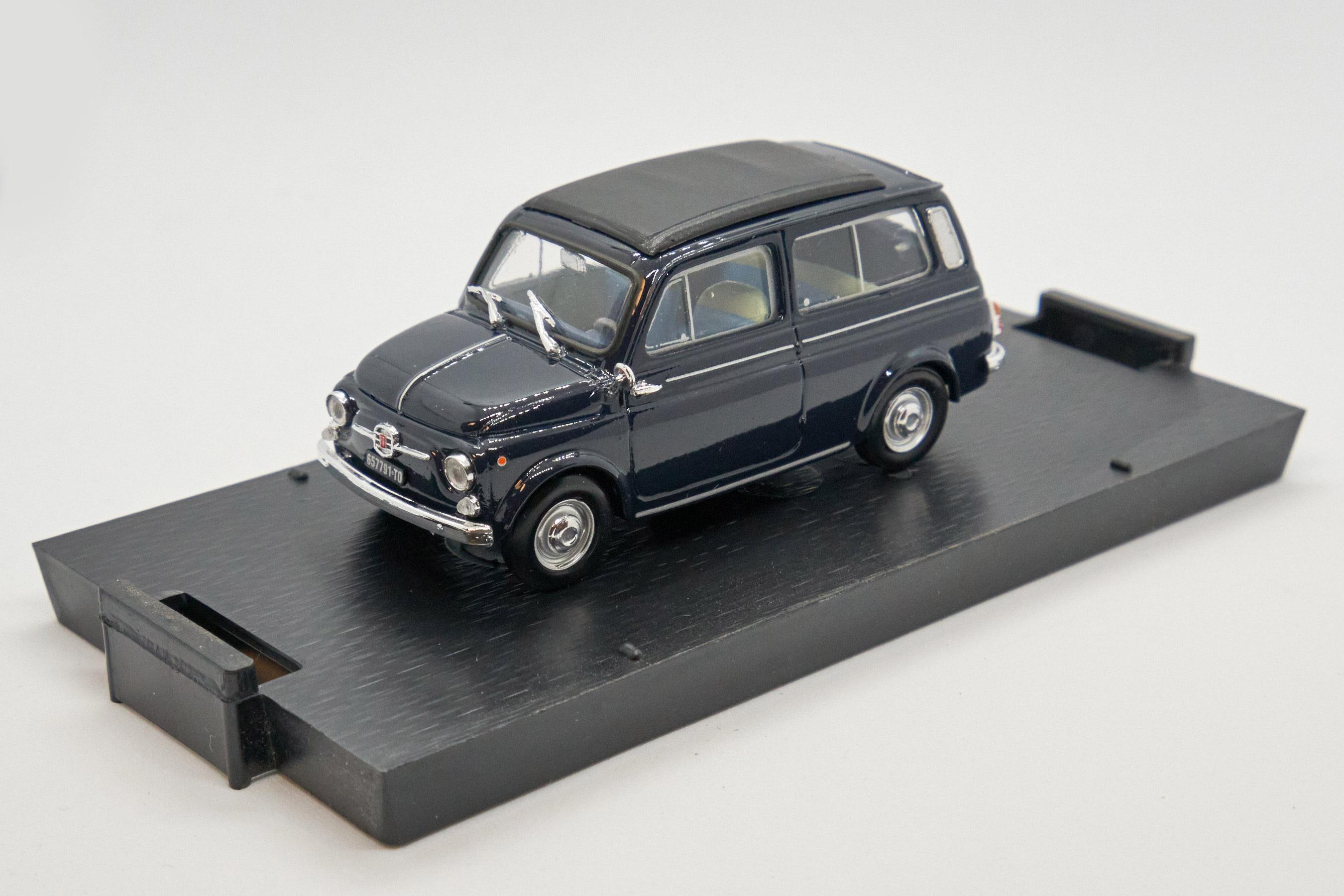 Fiat 500 Giardiniera Closed Dark Blue 1960 1/43 Brumm 100% Made In Italy