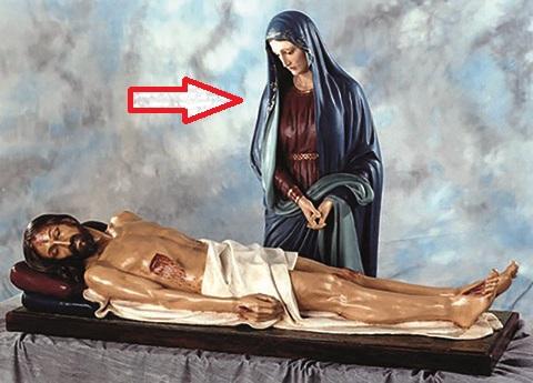 Madonna Addolorata in vetroresina cm. 170