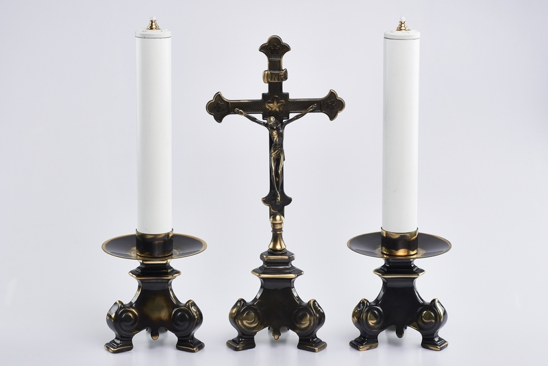 Trittico Barocco completo in ottone anticato