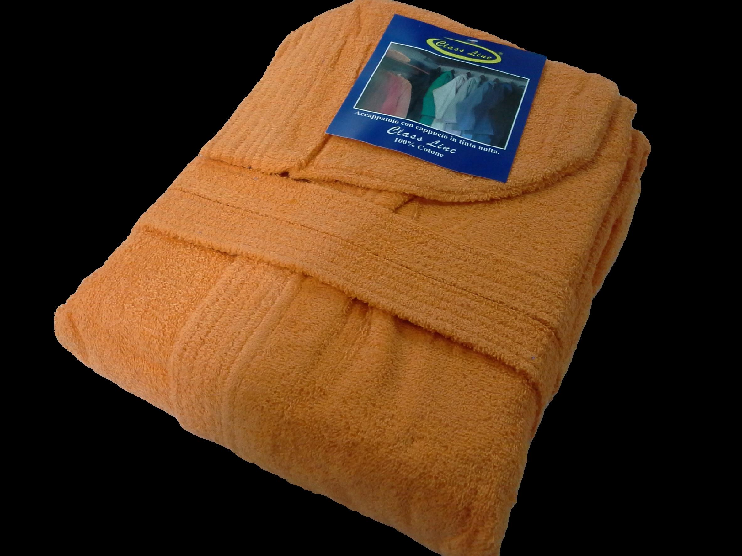 Accappatoio con cappuccio Spugna - 100% Cotone. Uomo - Donna. CLASSLINE. Arancio