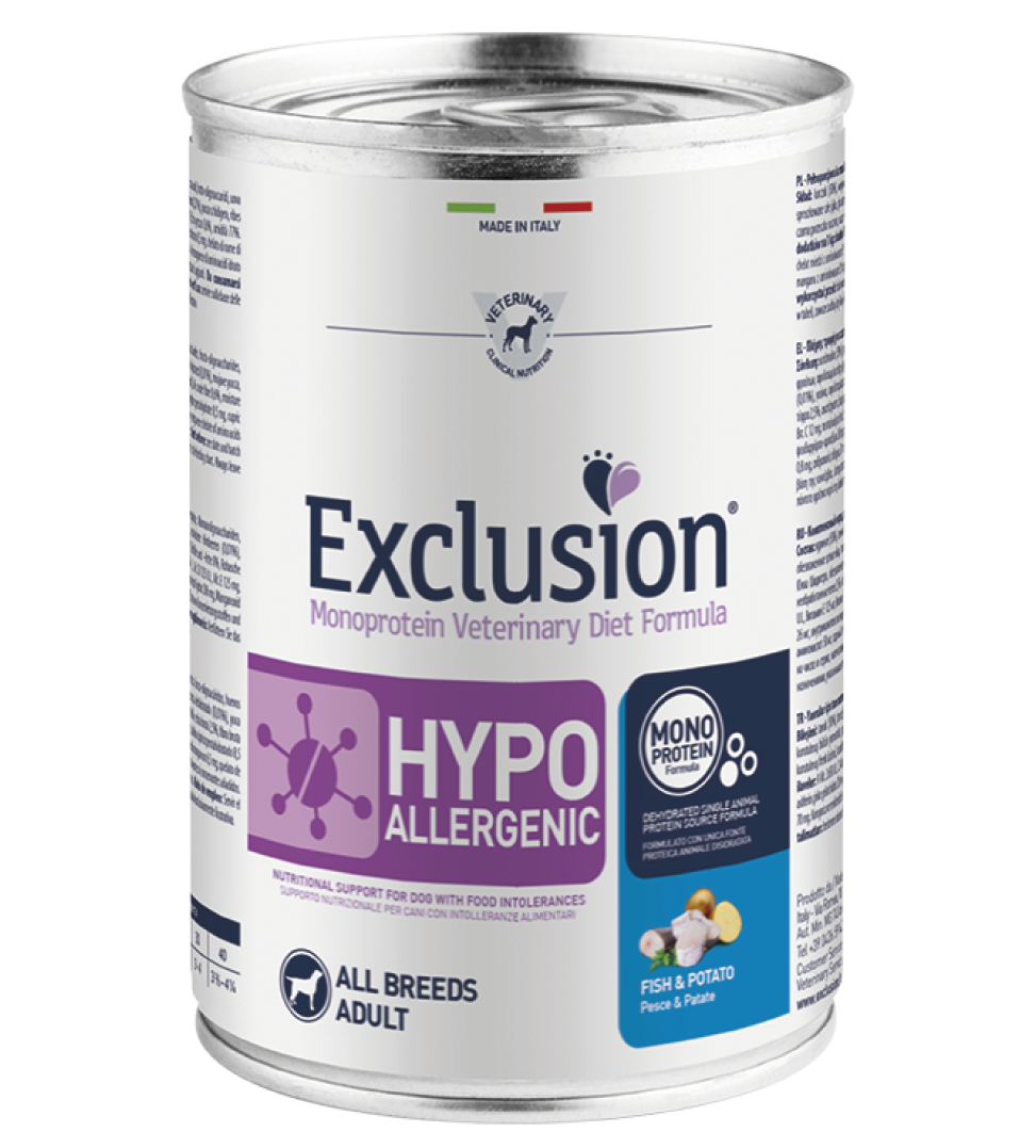 Exclusion - Veterinary Diet Canine - Hypoallergenic - 400g x 12 lattine