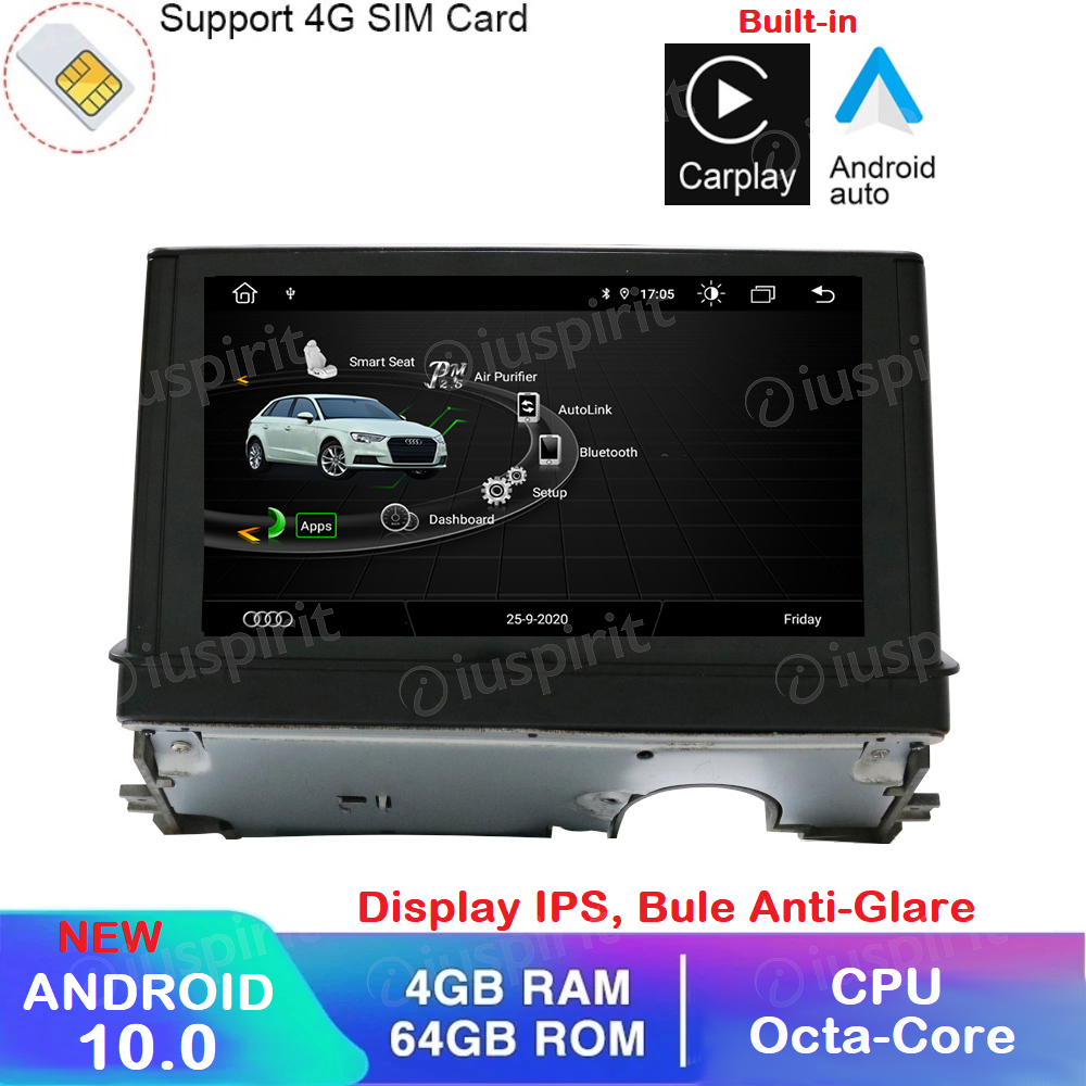 ANDROID 10 navigatore per Audi A3 2013-2018 GPS WI-FI Bluetooth MirrorLink 4GB RAM 64GB ROM Octa-Core 4G LTE Car Play Android Auto