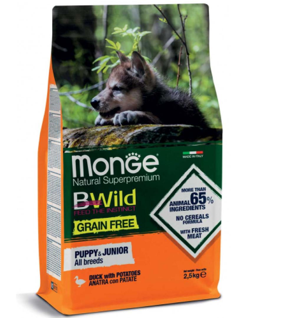 Monge - BWild Grain Free - All Breeds Puppy&Junior - Anatra - 12 kg x 2 sacchi