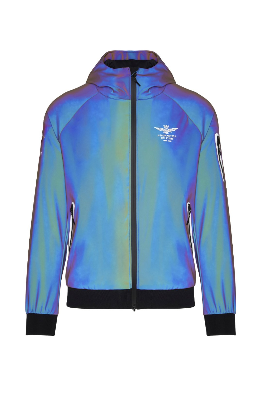 Jacket with iridescent technical fabric