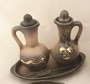 Servizio ampolline in ceramica color pompei