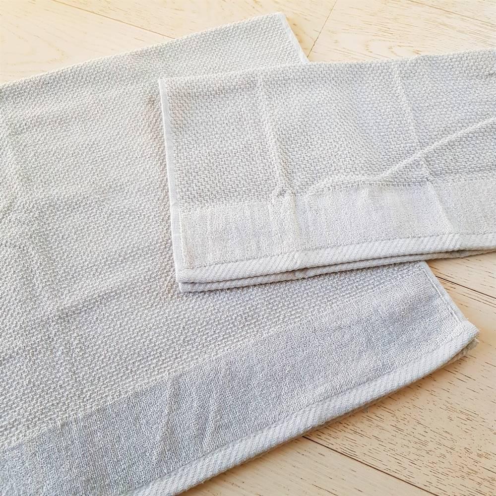Coppia asciugamani chicco di riso e ciniglia grigio