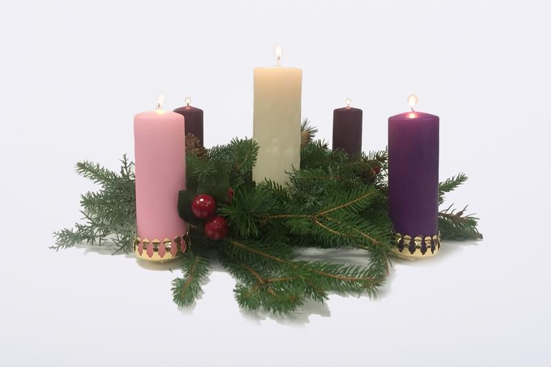 Candeliere dell'Avvento con set 4 candele +1