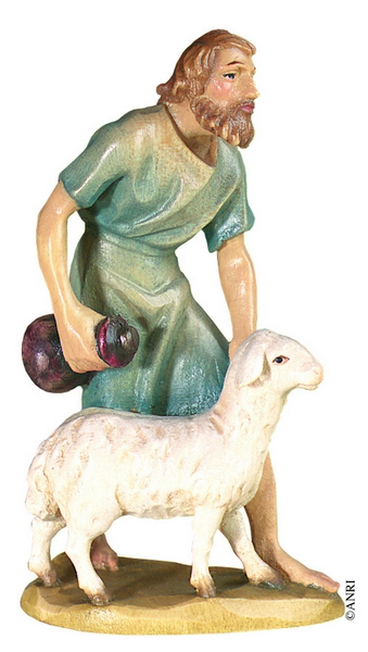 Pastore con pecora  per presepe Anri Kuolt  cm. 12,5