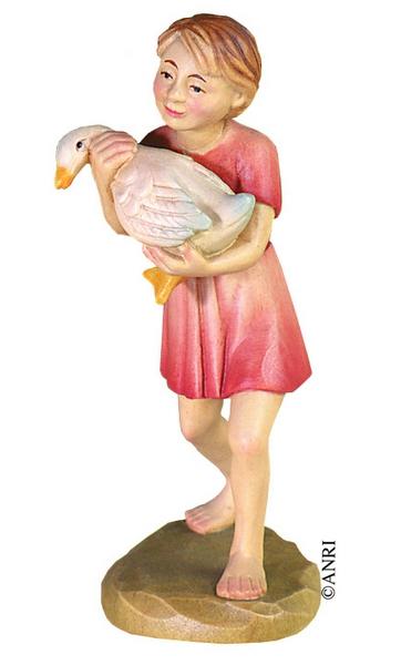 Pastorello con oca per presepe Anri Kuolt  cm. 12,5