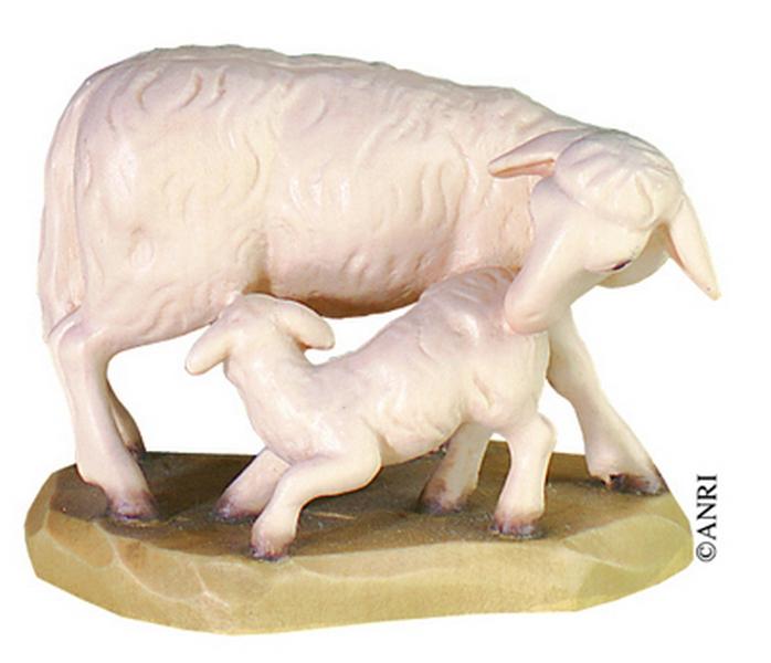 Pecora con agnello per presepe Anri Kuolt  cm. 12,5