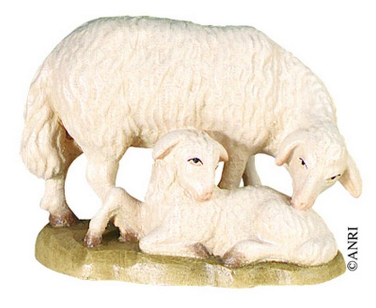 Pecora con agnello per presepe Anri Kuolt  cm.12,5