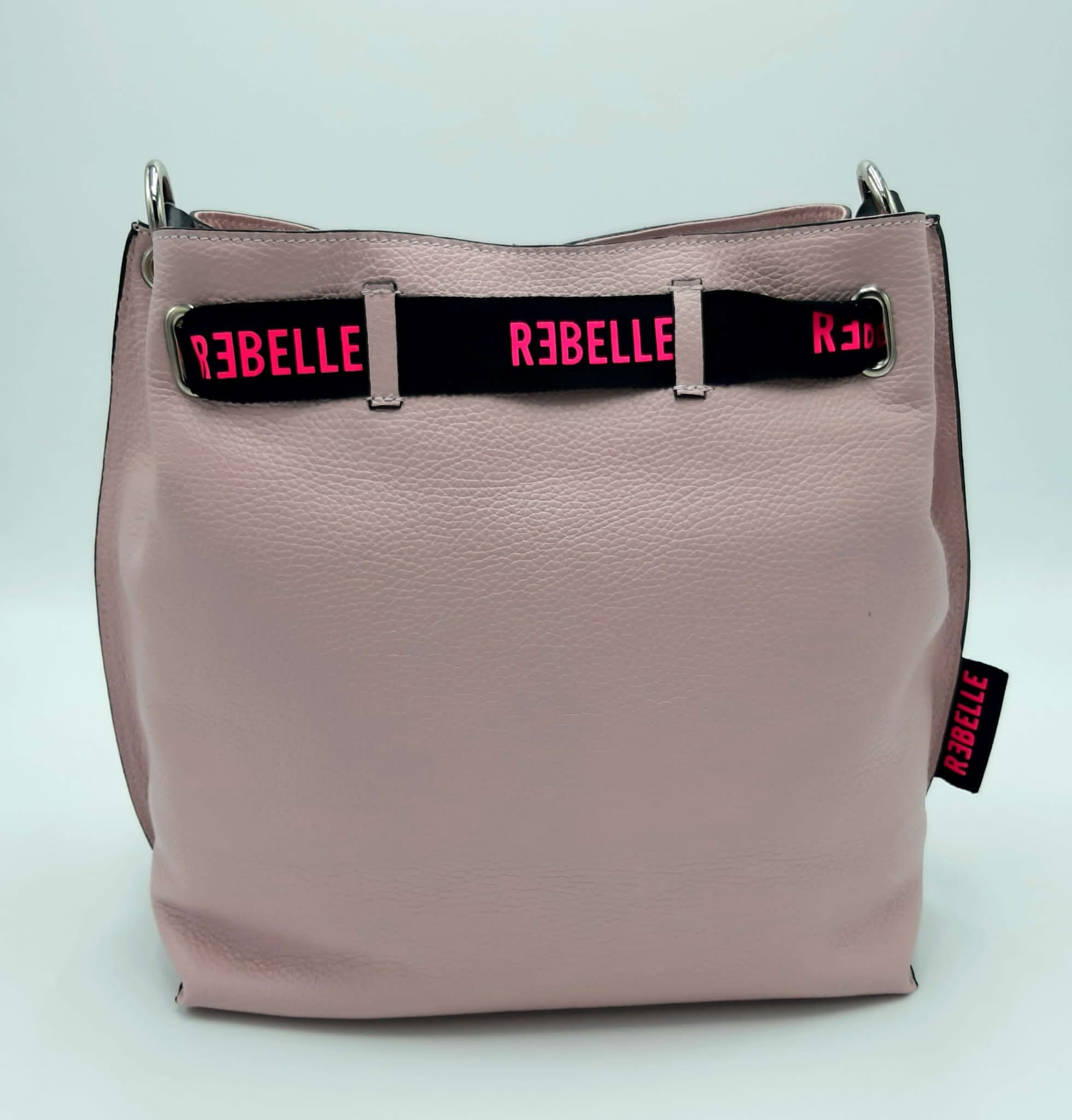 Secchiello in pelle bottalata rosa REBELLE