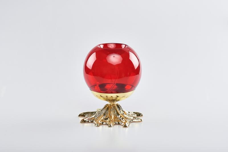 Lampada sfera vetro rosso con base