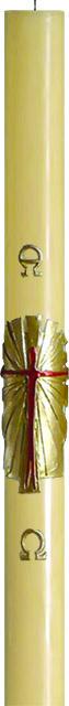 Cero pasquale in cera d'api decoro Risorto/Croce stilizzato
