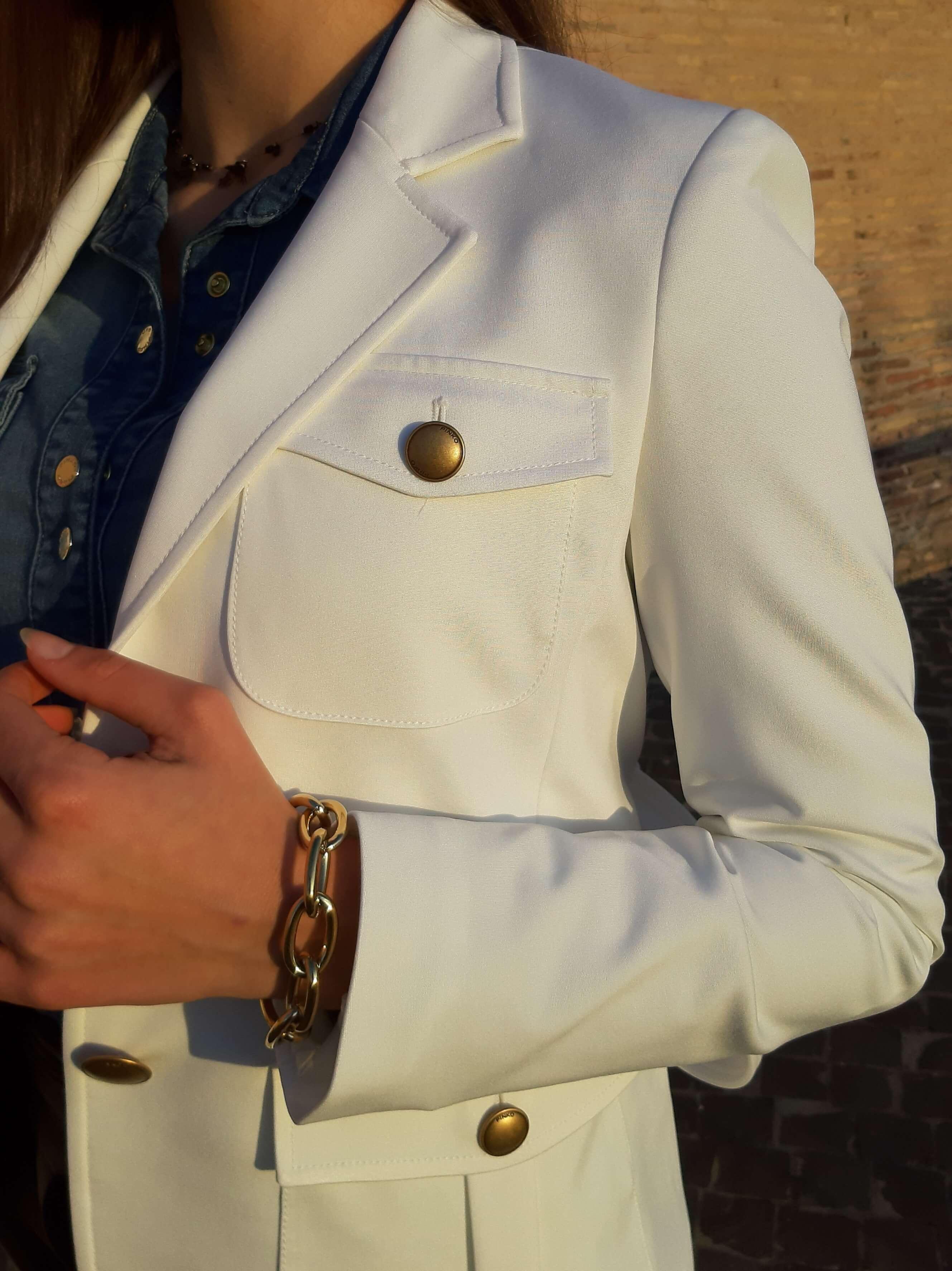 Giacca Trissa punto stoffa bianca Pinko