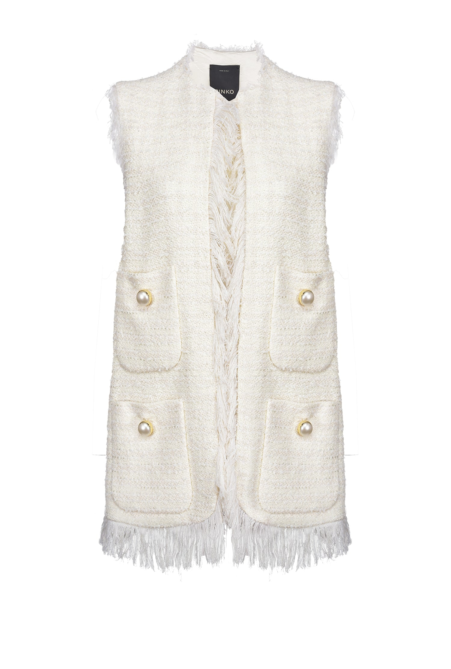 SHOPPING ON LINE PINKO GILET LUNGO IN TWEED CON FRANGE CRUDO NEW COLLECTION WOMEN'S SPRING SUMMER 2021