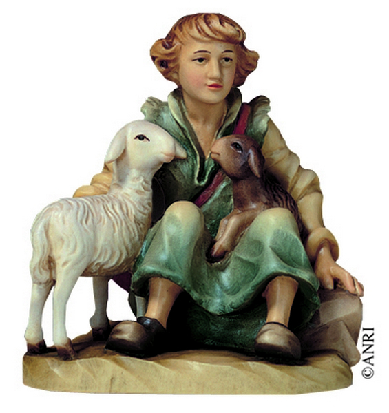 Pastore seduto con pecore presepio Anri Ulrich Bernardi  cm. 10