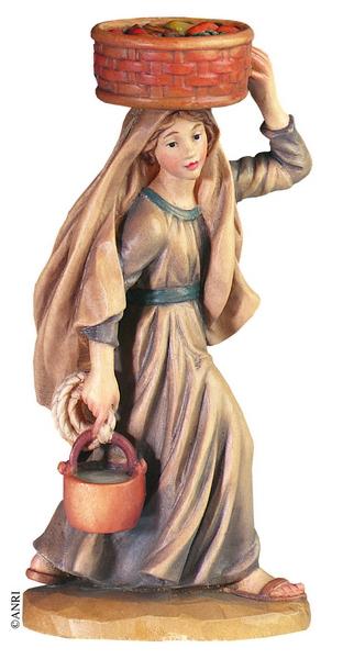 Pastorella con cesto in testa per Anri Ulrich Bernardi  cm. 10