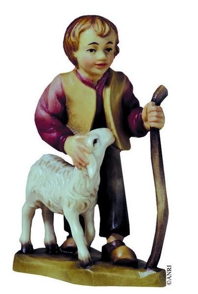 Pastorello con bastone e pecora pesepio Anri Ulrich Bernardi  cm. 10
