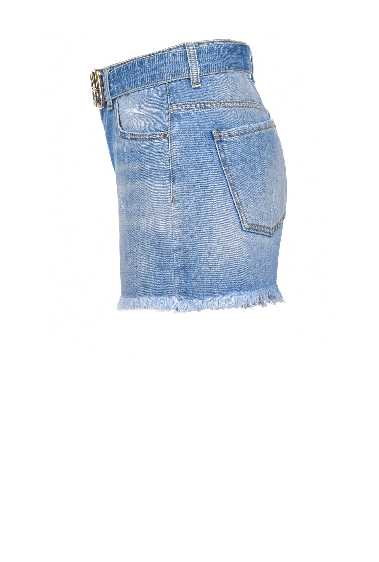 SHOPPING ON LINE PINKO SHORTS IN DENIM CON FIBBIA LOGO BROOKLYN NEW COLLECTION WOMEN'S SPRING SUMMER 2021