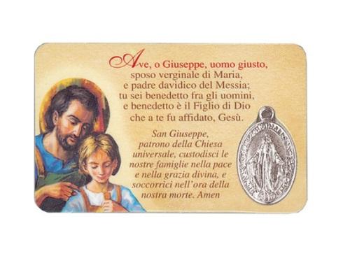 Tesserina S. Giuseppe con medaglia Miracolosa