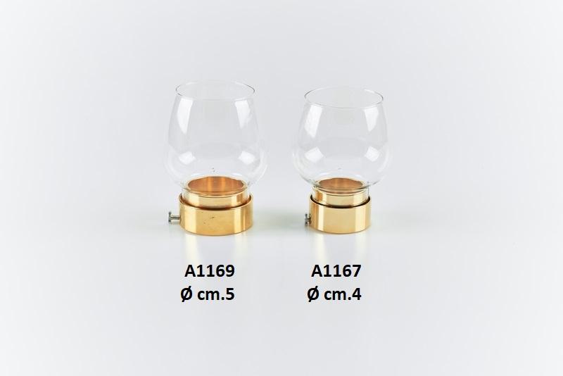 Antivento in vetro Ø cm. 4 oro