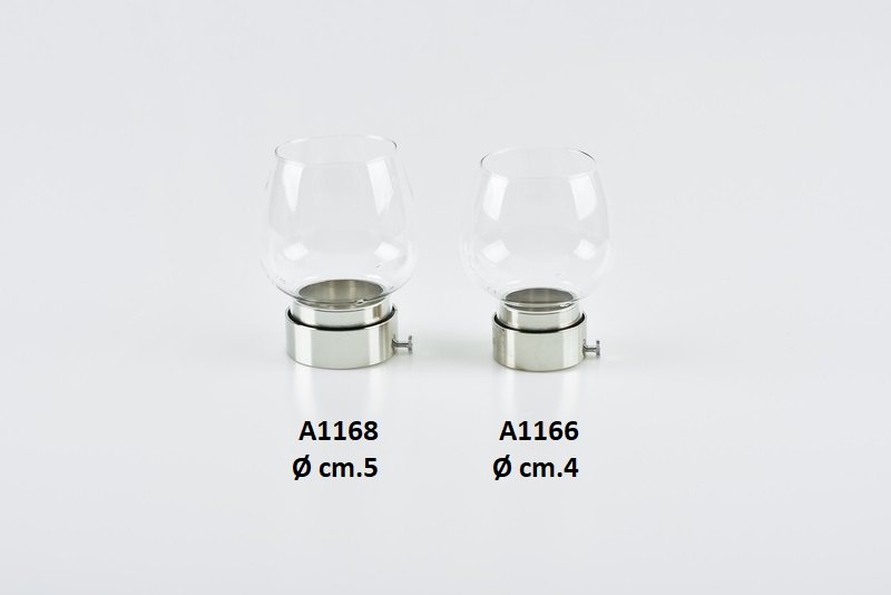 Antivento in vetro Ø cm. 5 argento