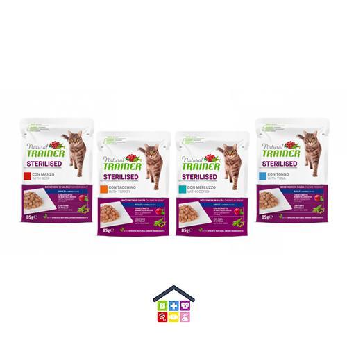 NATURAL TRAINER | LINEA UMIDO GATTO Sterilised Adult | Bocconcini in salsa Vari Gusti con fibra di Pisello ( Tonno / Tacchino / Manzo / Merluzzo ) / 85 gr