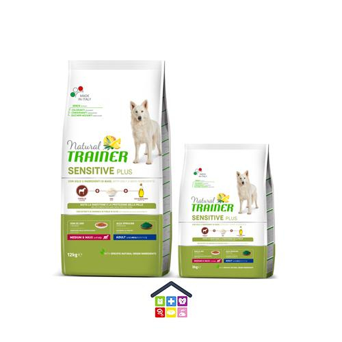 NATURAL TRAINER | LINEA SECCO CANE SENSITIVE PLUS | MEDIUM MAXI ADULT con CAVALLO, RISO E OLIO / 3-12 Kg