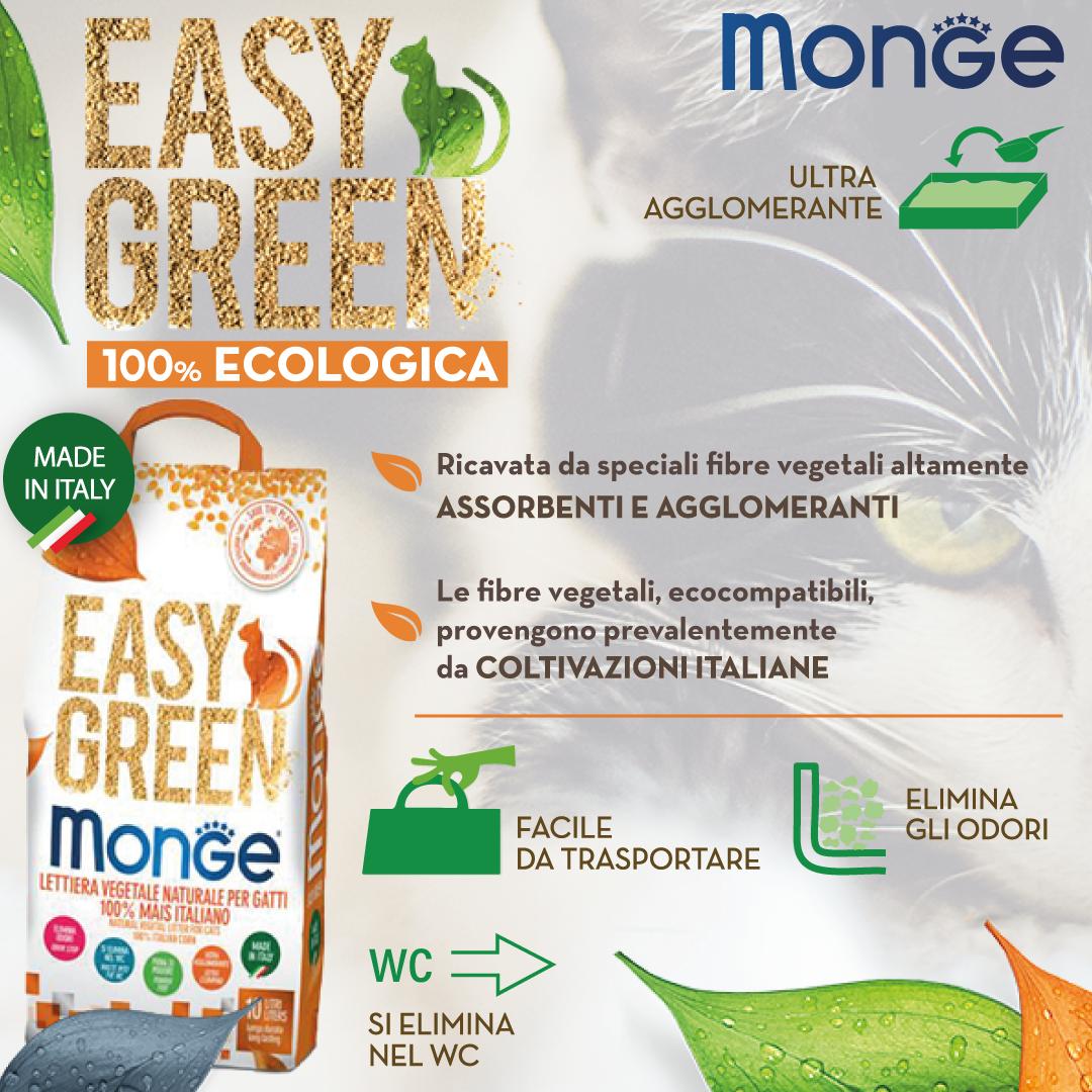 Monge - Easy Green - Lettiera vegetale e agglomerante - 10 lt - in OMAGGIO l'esclusiva paletta Monge