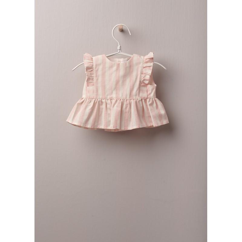 Blusa a righe in tessuto di cotone leggero, ideale per neonati e bambine, fino a 24 mesi.Blusa COTTON BABY a righe con righe rosa su fondo avorio, allacciata dietro con bottoni in madreperla.  Composizione: Tessuto 80% cotone e 20% lino. Fodera 100% cotone.
