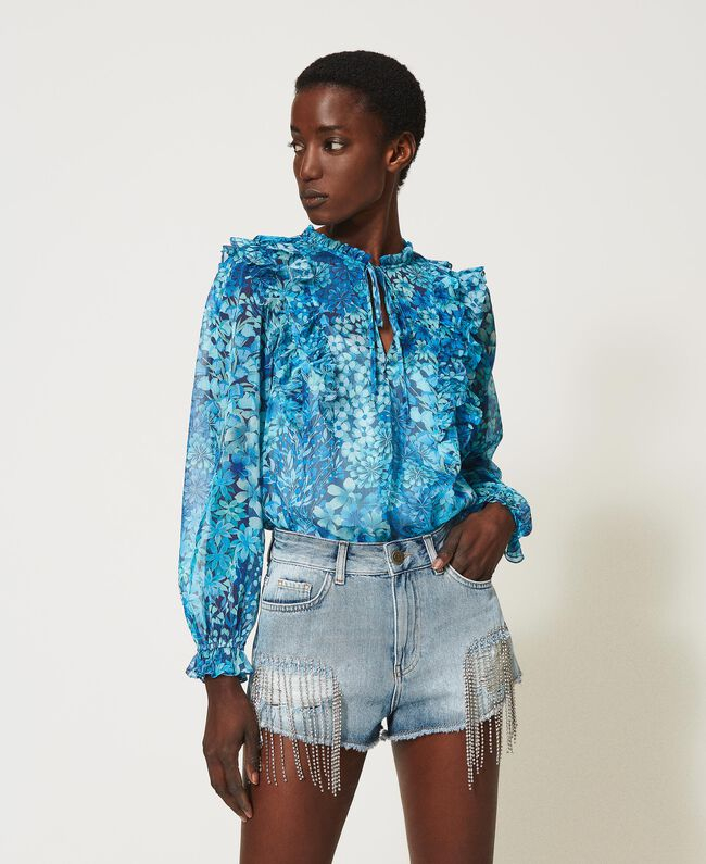 SHOPPING ON LINE TWINSET MILANO BLUSA IN CREPONNE A FIORI NEW COLLECTION WOMEN'S SPRING SUMMER 2021